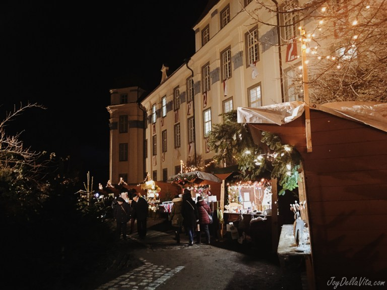 Visiting a traditional German Christmas Market by the Castle in Tettnang near Lake Constance
