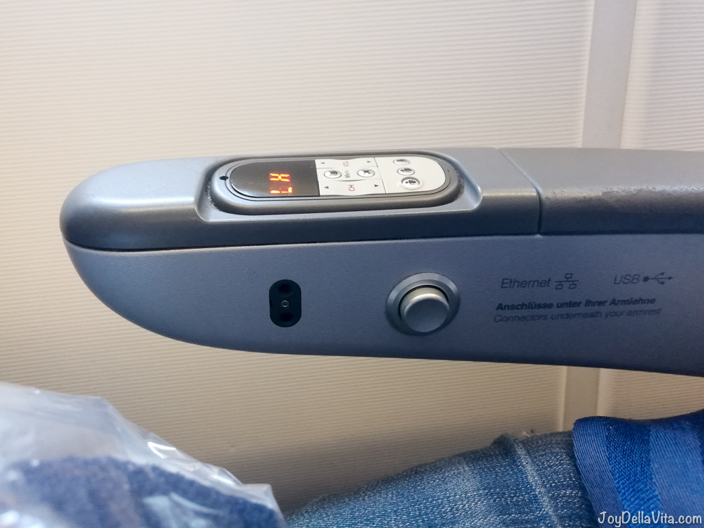 Lufthansa A380 Economy Class USB Port Headphone Jack Armrest