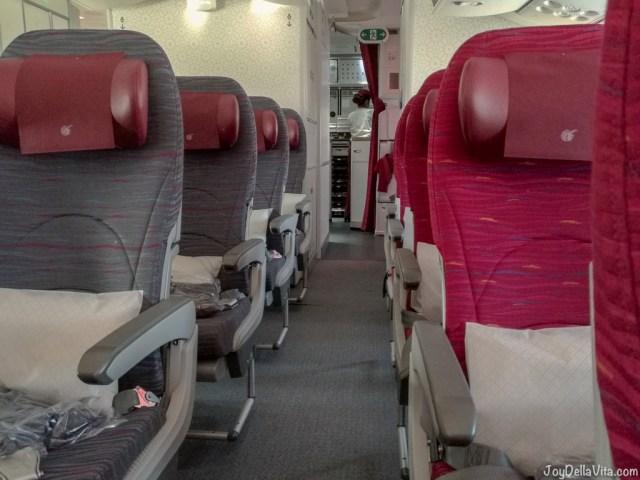 Qatar Airways Boeing 787 Dreamliner Economy Class Seats and Galley (kitchen)