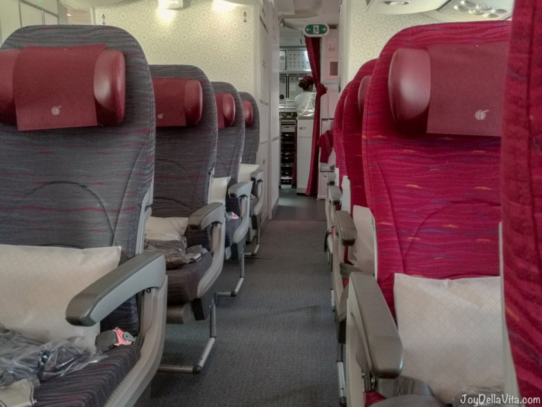 Qatar Airways Boeing 787 Dreamliner Economy Class Seats and Galley (kitchen)