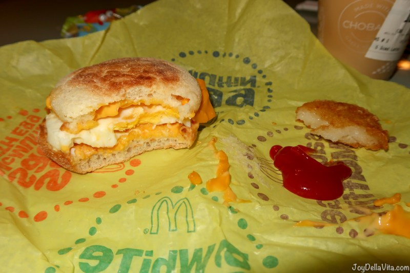 Vegetarian Egg McMuffin with extra Cheese and no Sausage or Bacon via McDonalds McDelivery Los Angeles