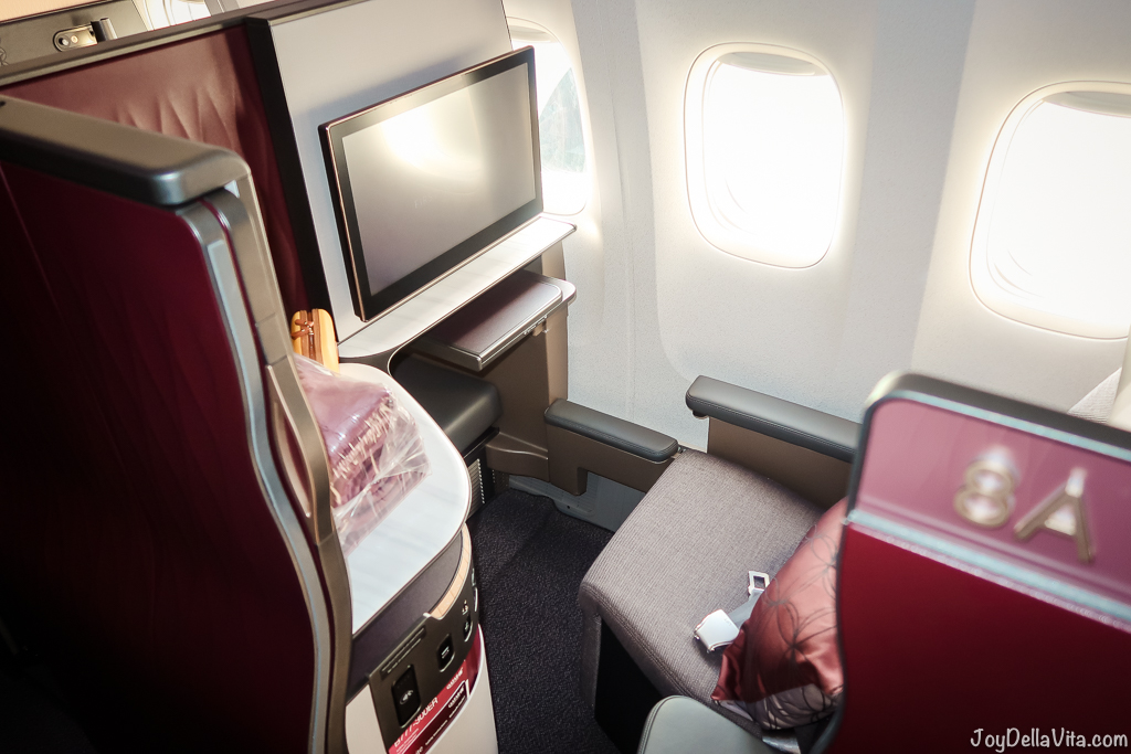 Qatar Airways Qsuite Business Class Window Seat 8A rear facing