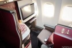 Experience Qatar Airways Qsuite Business Class Flight Window Seat 8A rear facing