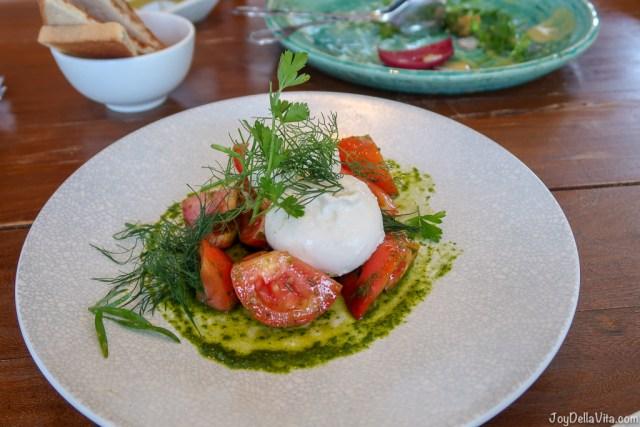 Fresh Mozzarella, New Season Tomatoes, Rocket, Basil Pesto Pialligo Estate Canberra