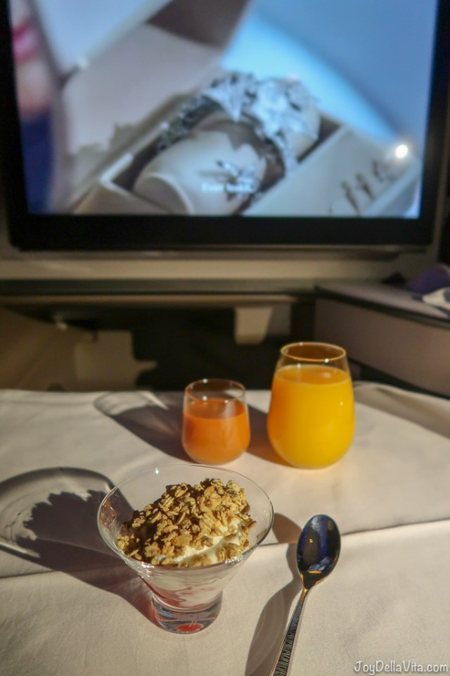 Greek Yoghurt with Berries and Juice Qatar Airways Qsuite Business Class