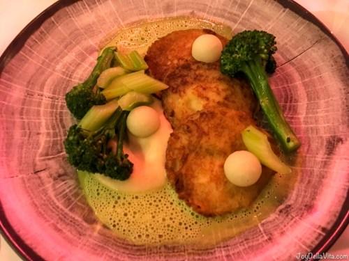 Fritters with veggies and sauce hollandaise (?) Restaurant Berchtesgaden Kempinski