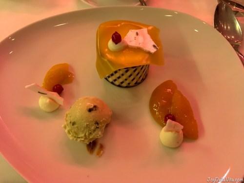 peach champagne parfait with mascarpone lavender cream and pistachio ice cream Restaurant Berchtesgaden Kempinski