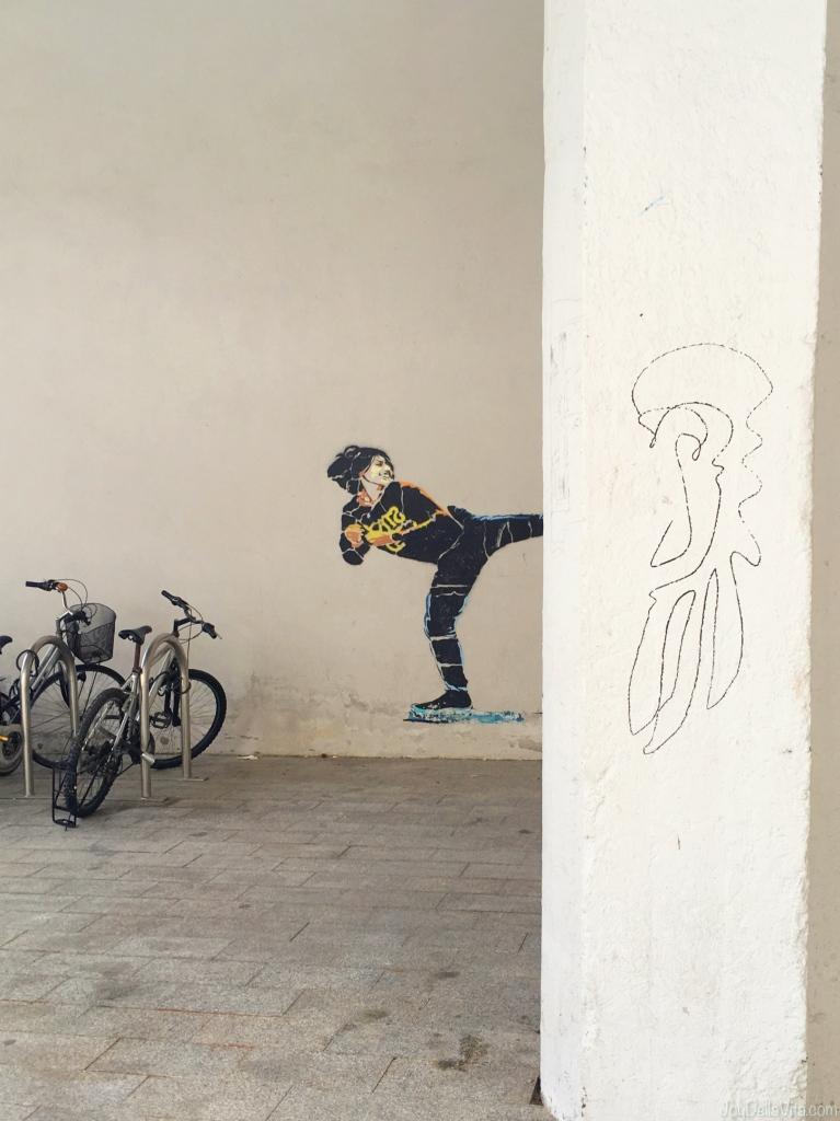 Street Art outside Tabakalera Art Museum in Donostia San Sebastian