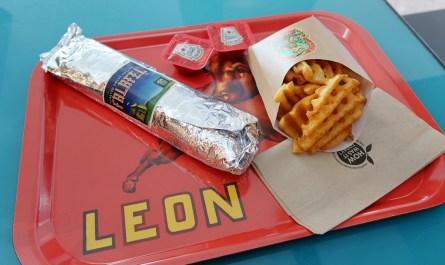 Falafel Wrap Baked Fries Leon Restaurant London Heathrow Airport