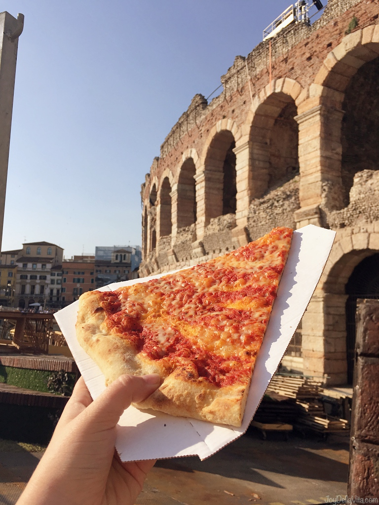 Pizza Margherita in front of Arena di Verona
