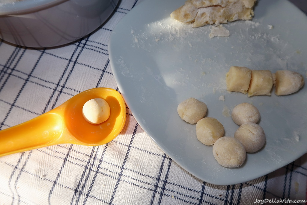 I made gnocchi balls, with the help of an Ice Cream Portioner