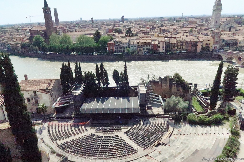 Teatro Romano di Verona and Adige River Etsch as seen from the Archaeological Museum Verona