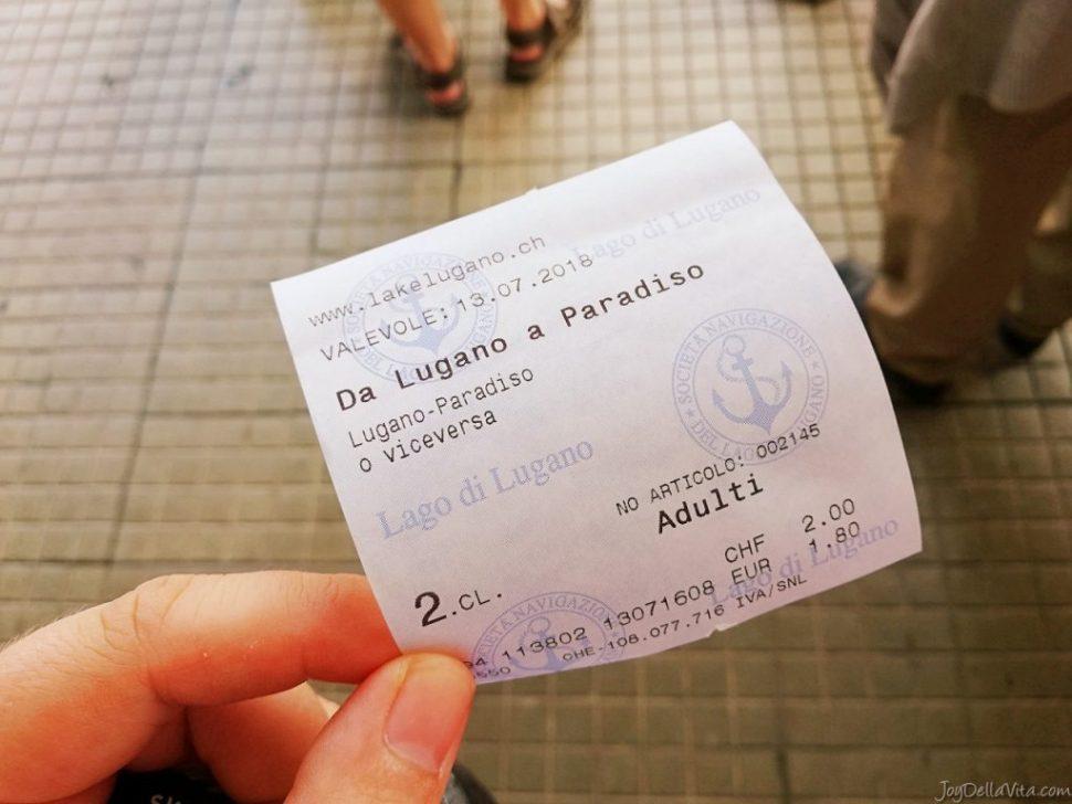 Ticket for my boat ride on Lake Lugano