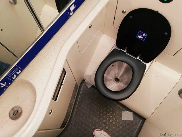 toilet bathroom SBB EuroCity Zurich Lugano Review Travel Blog JoyDellaVita