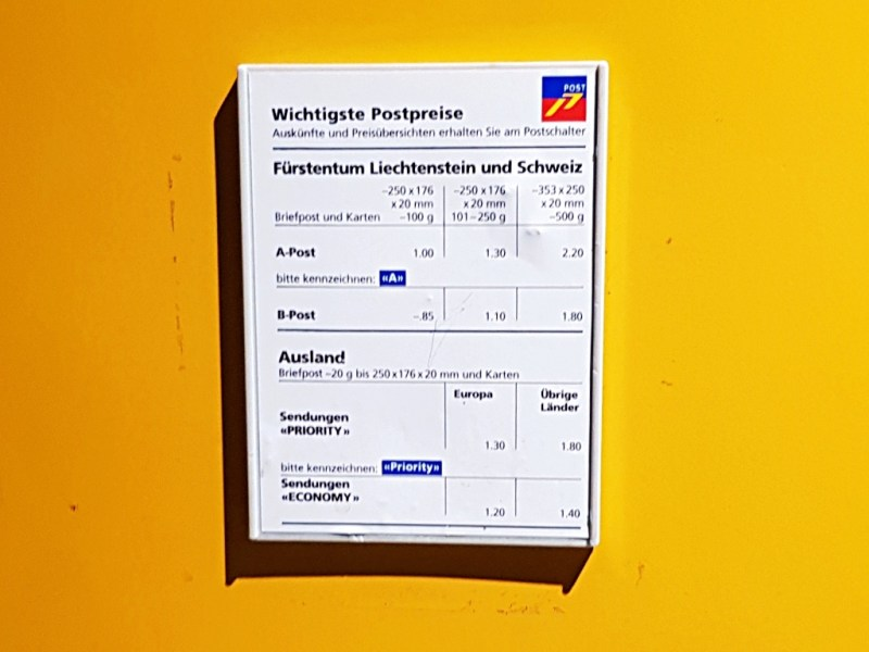 prices postcard liechtenstein