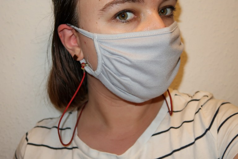 DIY: adding a strap to a reusable mask to wear as a chain between usage