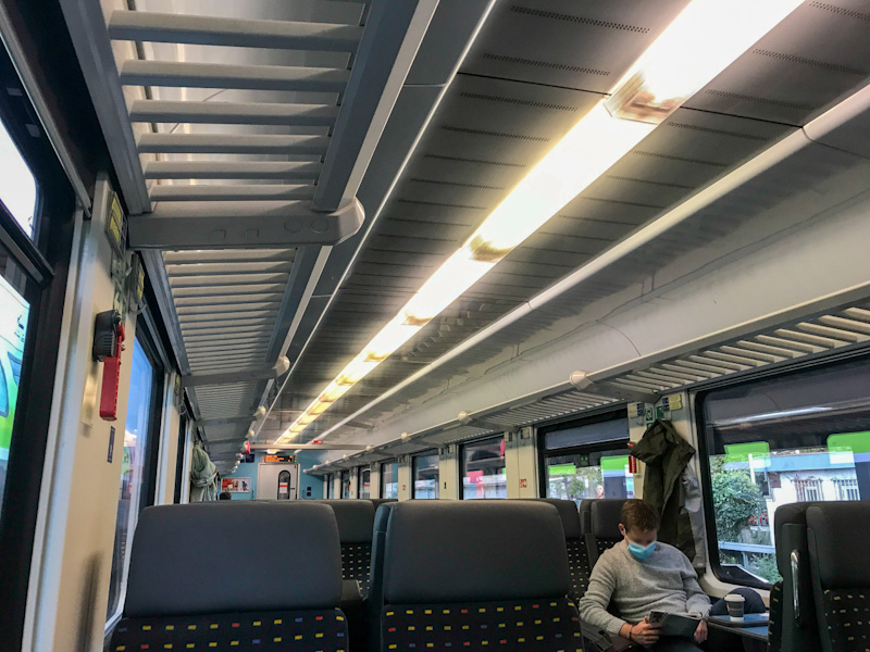 2nd class aboard the SBB EuroCity Train connecting Zurich and Munich