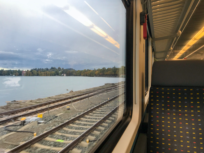 Leaving Lindau Island Train Station, literally travelling above Lake Constance sea level
