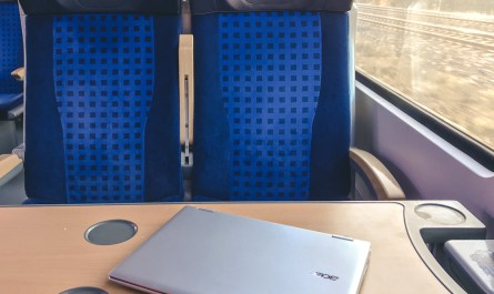 Chromebook on a train table