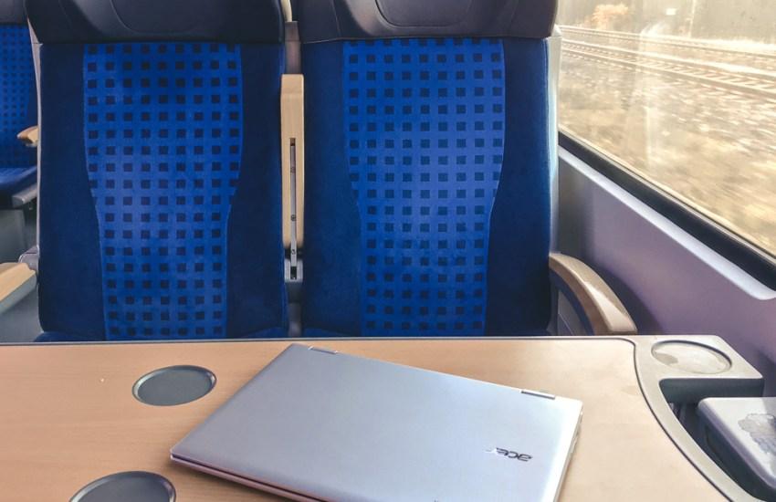 Chromebook on a train table
