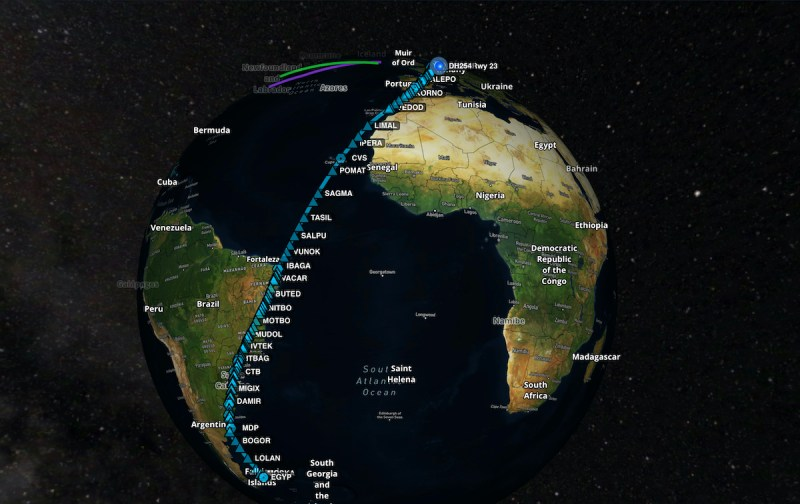 Lufthansa longest flight routing Hamburg Falkland