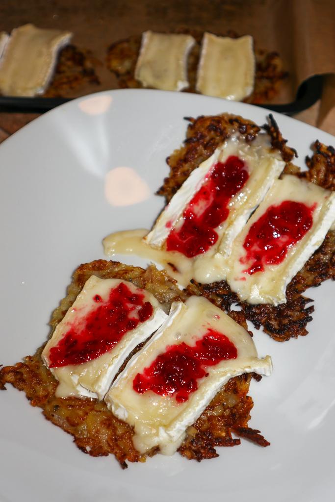 Potato Pear Roesti Brie Cheese Strawberry Jam