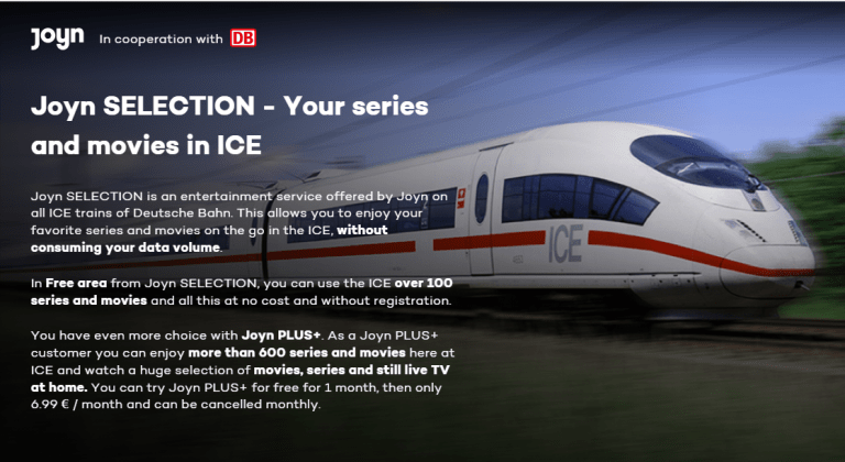 Watch movies on german ICE trains via JOYN Selection for free – Instructions