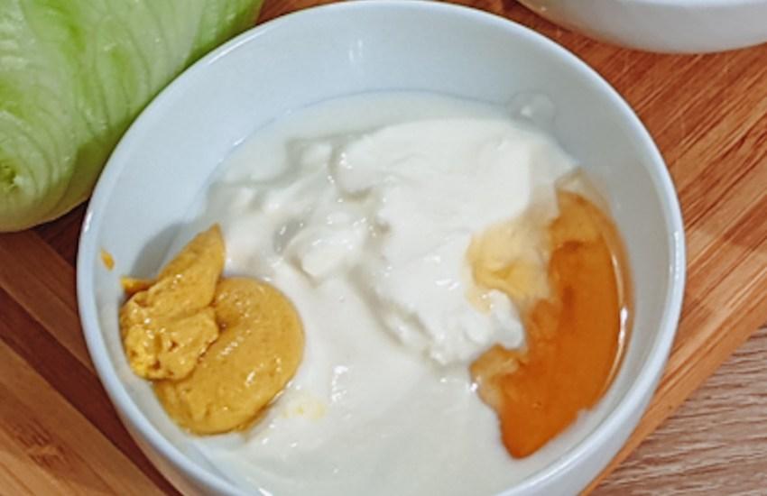 honey mustard yoghurt in a small bowl blog joydellavita