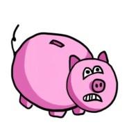 Tirelire en forme de cochon paniqué