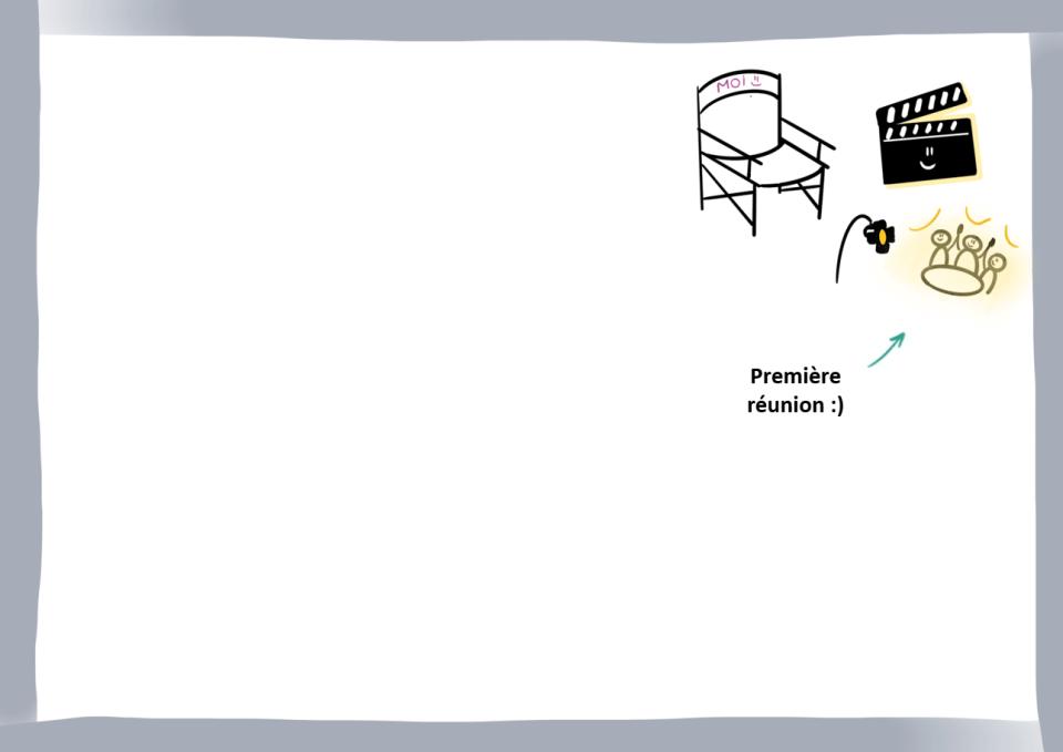 Brouillon avec illustration de la destination à atteindre : une première réunion
