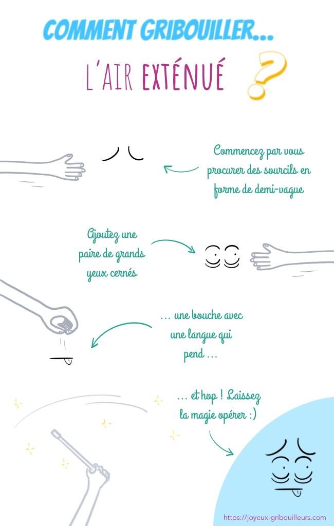 Comment gribouiller l'air exténué