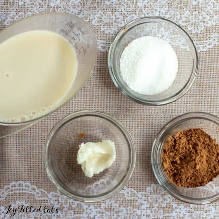 ingredients for healthy hot chocolate in bowls