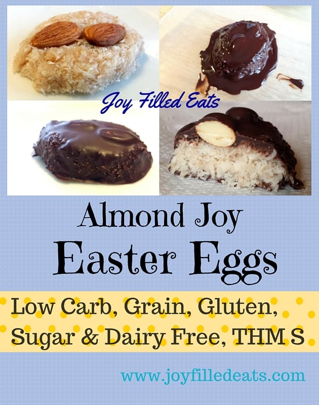 These Chewy Almond Joy Candies are perfect for Easter baskets. You can shape them into eggs & they are sugar, dairy, grain, & gluten free, low carb, THM S.