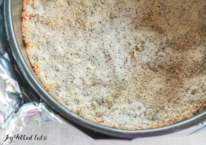 prebaked almond flour crust for the ricotta cheesecake