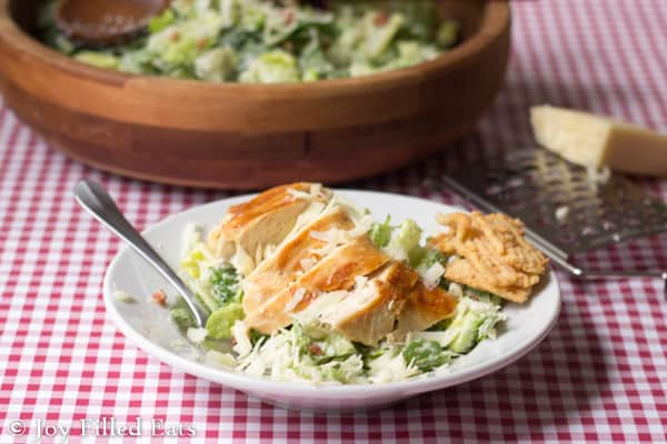 Caesar salad is one of our go to easy sides for dinner & our favorite dressing is ready in two min. It is low carb, gluten, sugar, & grain free & THM S.