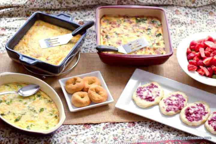 An overhead shot of various brunch dishes