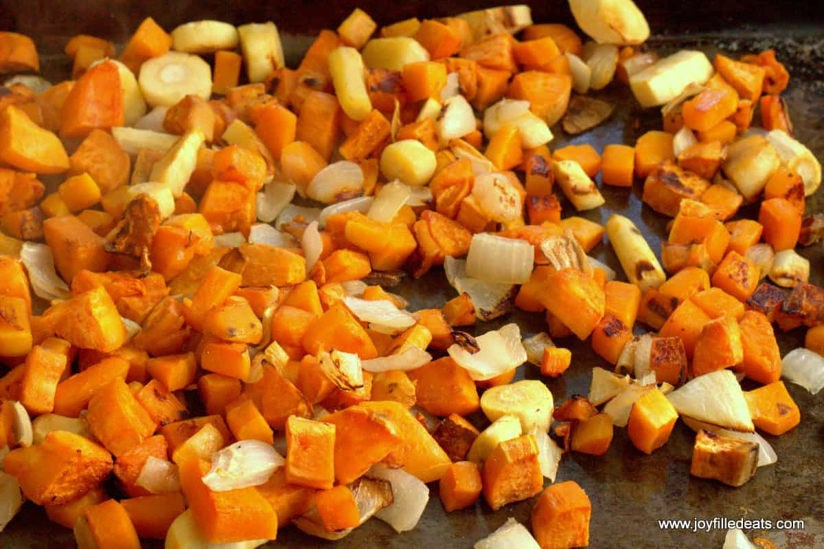 Roasted Parsnips, Butternut Squash, Sweet Potatoes, and Onions