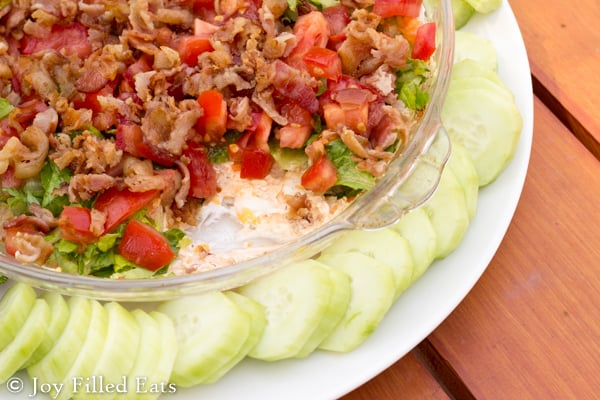 BLT Dip - The flavors of a BLT sandwich in dip form. Perfect for a summer bbq or party. Low carb, grain/gluten free, THM S. 4 g of carbs in 10 servings.