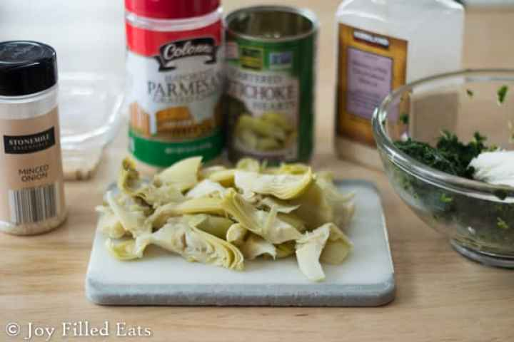 Ingredients for the Spinach & Artichoke Stuffed Chicken Breasts