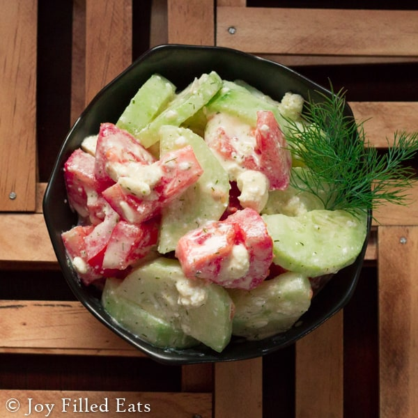 Tomato & Cucumber Salad with Lemon Dill Dressing & Feta - This is a summer favorite of ours. It is ready in about 10 minutes (5 if you have the dressing prepared already), refreshing, and flavorful. The lemon and dill blend together wonderfully in this creamy dressing.