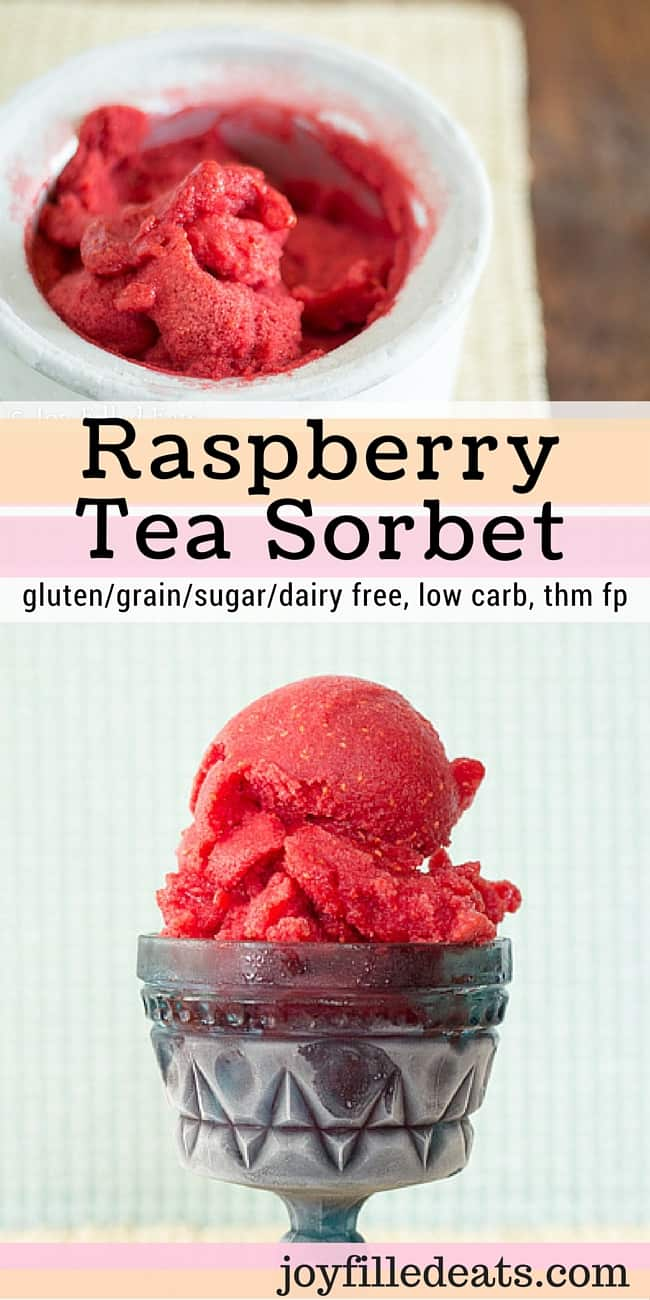 My Raspberry Tea Sorbet uses Snapple® Straight Up Tea™ & frozen raspberries. It is a refreshing low carb, gluten/grain/dairy/sugar free & THM FP treat.