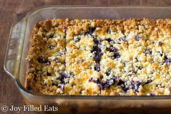 Lemon Blueberry Cheesecake Crumb Bars. Low carb, sugar free, grain free, THM S.