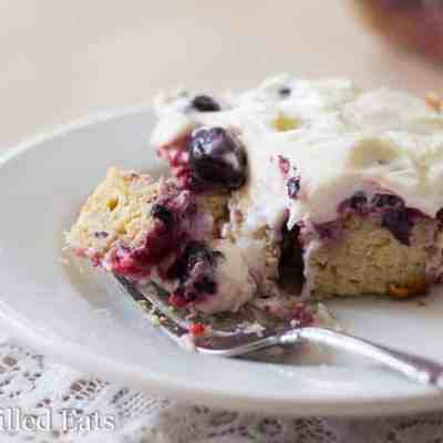Triple Berry Cake with Fluffy Cream Cheese Icing