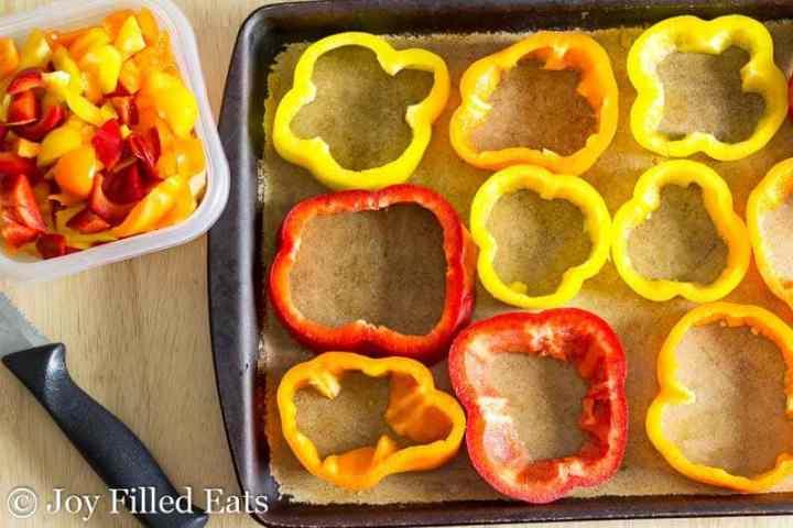 Pepper rings on stoneware baking sheet