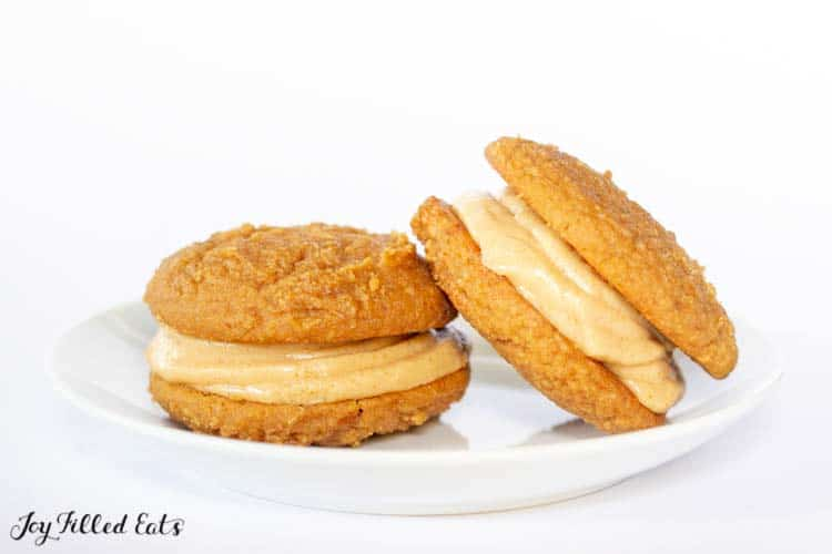 2 peanut butter whoopie pies on a white plate