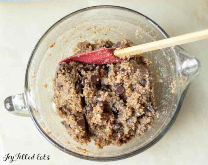 batter for the pecan cookies in a glass bowl