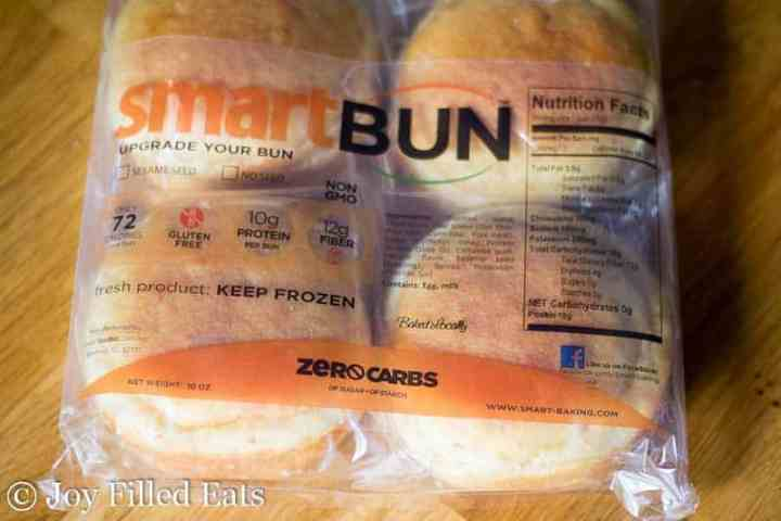 a package of low carb hamburger buns