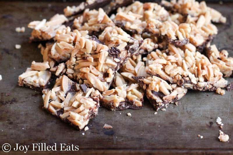 Salted Chocolate Almond Brittle Bark