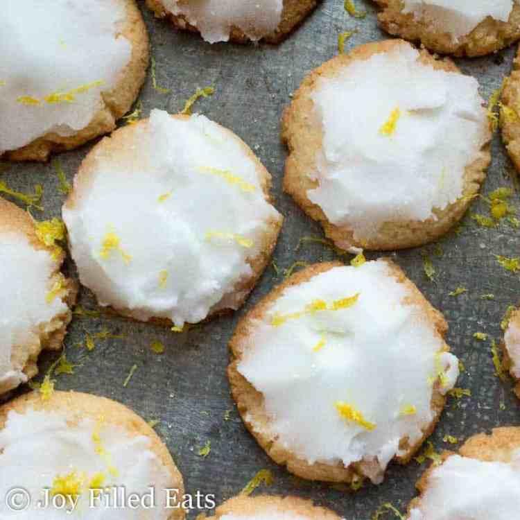 keto lemon cookies on a metal background