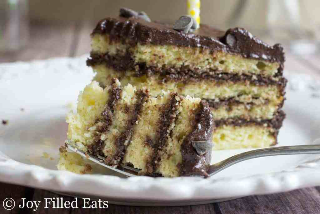 Classic Yellow Birthday Cake with Chocolate Icing - Low Carb, Gluten, Grain & Sugar Free, THM S